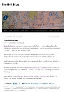 'Election Leaflets' post on The B44 blog