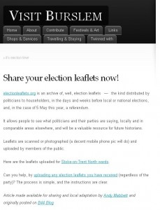 'Election Leaflets' post on Burslem blog
