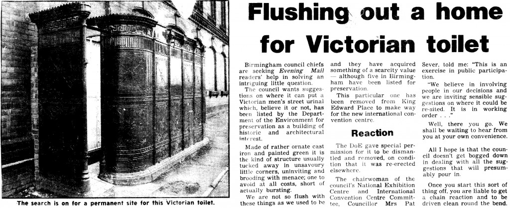 Yellowing press clipping from 14 Feb 1987, showing the urinal