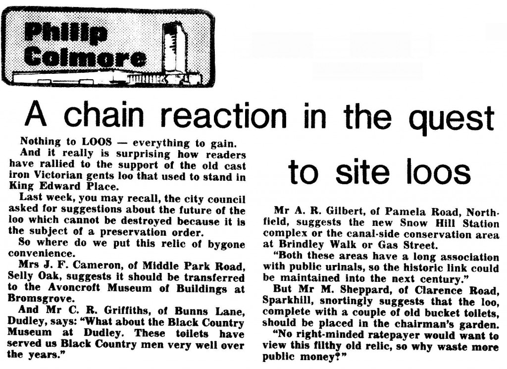 Yellowing press clipping from 21 Feb 1987, showing the 'Philip Colmore' column logo
