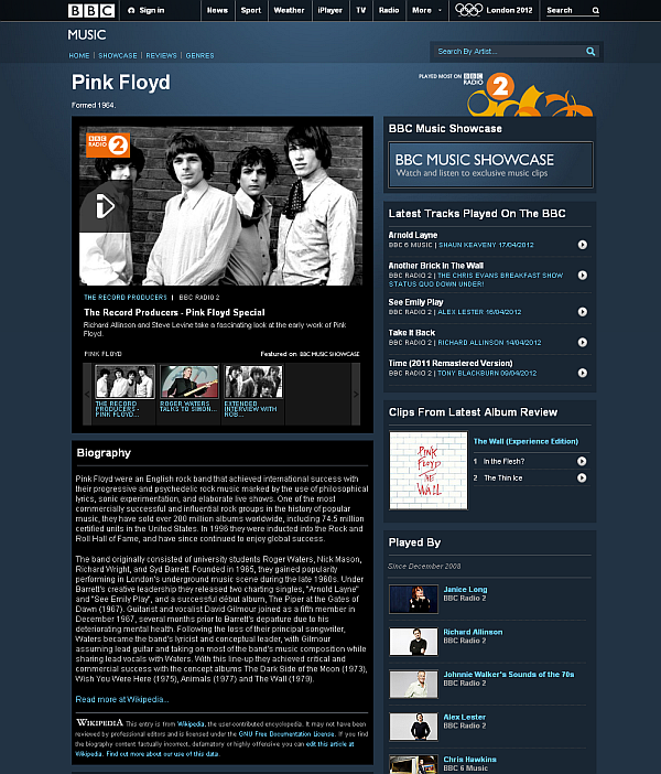 Screen capture of BBC article on Pink Floyd, linked to in post