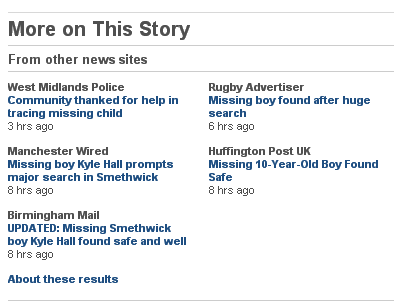 Screenshot of the 'From other news sites' section of the news story linked to above